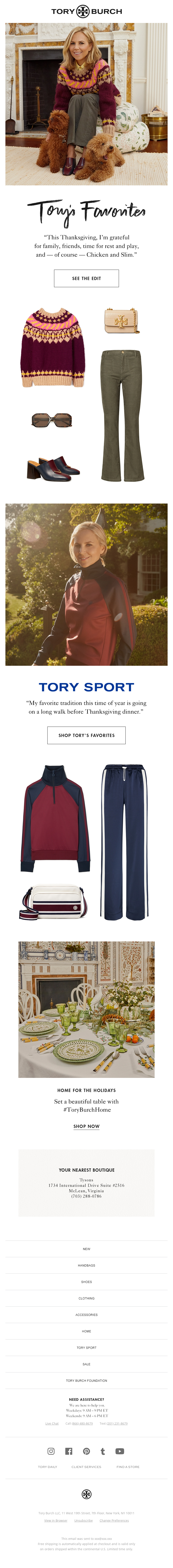 Thanksgiving email from Tory Burch