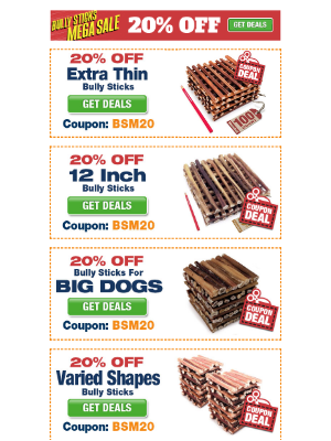 ValuePetSupplies - Bully Sticks Mega Sale - 20% Coupon