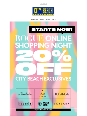 City Beach Australia - Aurora ✨ 20% OFF* ✨ ROGUE Online Shopping Night!