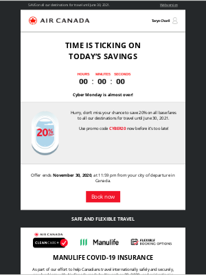 Air Canada - Just a few hours left to save 20% on all base fares