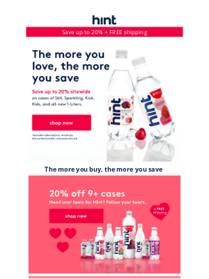 Hint Water - Our Valentine's Day sitewide sale ends tomorrow!