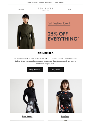 Ted Baker (UK) - Limited time only! 25% off everything