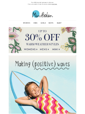 Boden (UK) - A bright forecast: up to 30% OFF sunny styles