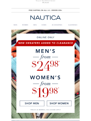 Nautica - New sweaters added to Clearance!