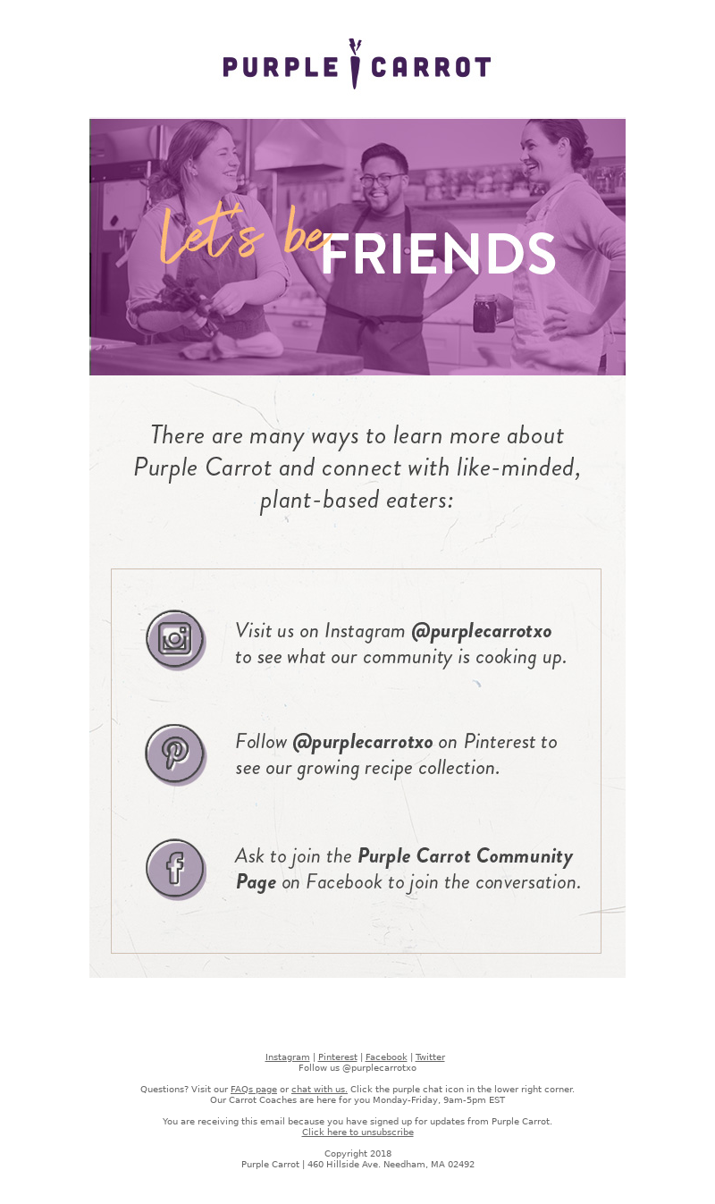 Onboarding email from Purple Carrot