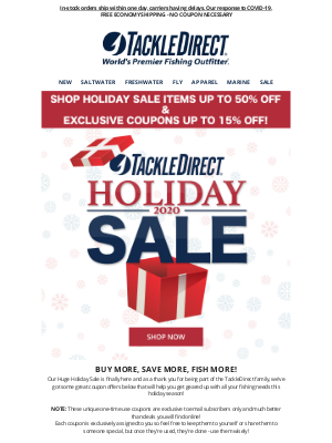 TackleDirect - 🔥 Holiday Sale Items Up to 50% OFF and Exclusive Coupons Up to 15% OFF!