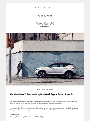 Volvo Cars - [Volvo Car UK News] Placeholder – Volvo Car Group's 2020 full-year financial results