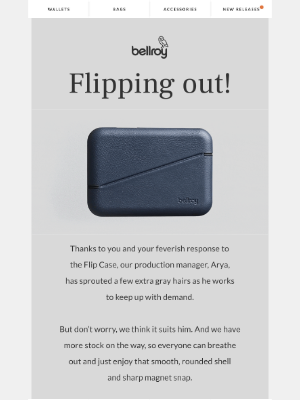 Bellroy - You're giving Arya more grays.