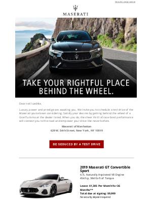 Maserati North America - Drive it...and be driven by Maserati prestige.