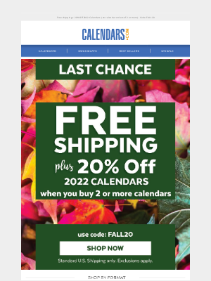 - Last chance to save - Free Shipping Ends Tonight