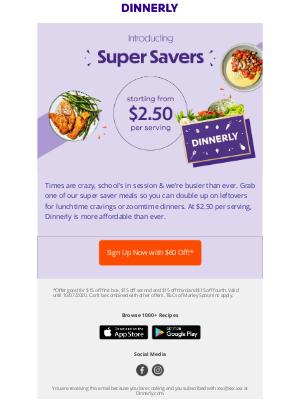 dinnerly - $2.50 dinners, Bonnie!