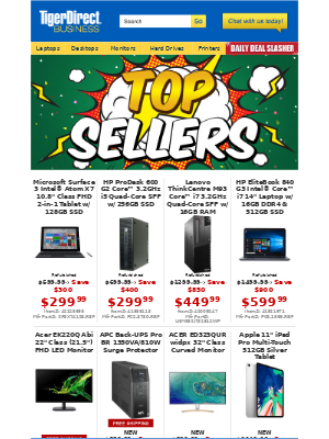 TigerDirect - Top Sellers! $299 Microsoft Surface 3 + More