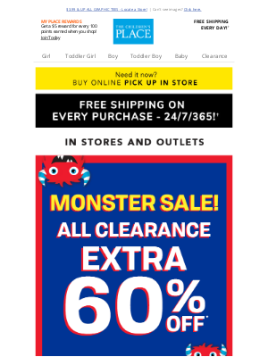 Crazy 8 - Extra 60% off ALL Clearance - Monster Savings in Stores NOW!
