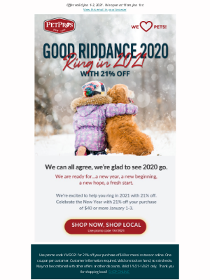 Pet Pros - Good Riddance 2020 - Ring in 2021 with 21% off!