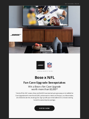Bose - Win a Bose x NFL prize package worth more than $3K