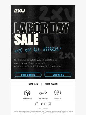 2XU - Labor Day Sale: take 20% off our full-price apparel range.