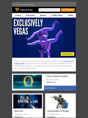 Vegas - Exclusive Show Deals | Tickets from $33