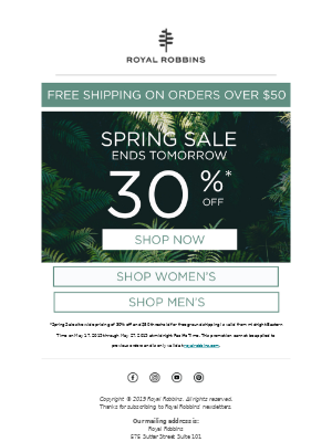 Spring Sale Ends Tomorrow!