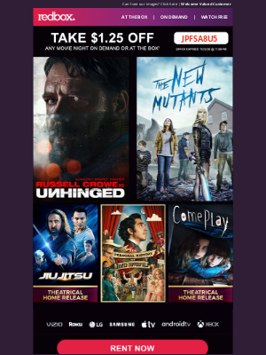 Redbox - Stream or Rent at the Box w/ $1.25 OFF