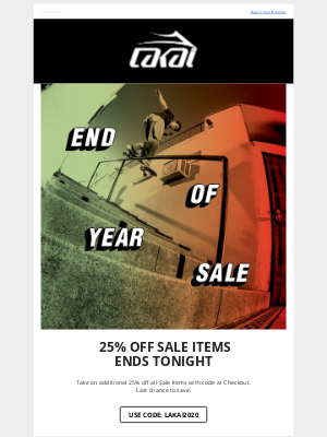Lakai Footwear - Ends Tonight: Extra 25% Off