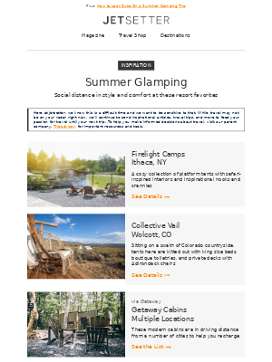 Jetsetter - 5 Glamping Retreats For Socially Distance in Style
