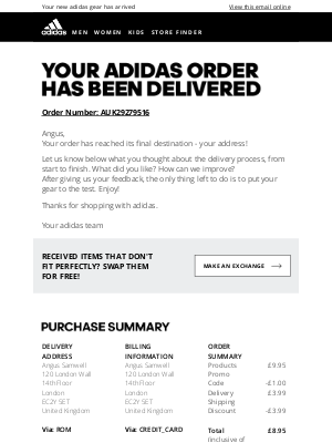 Adidas (UK) - Your order has been delivered