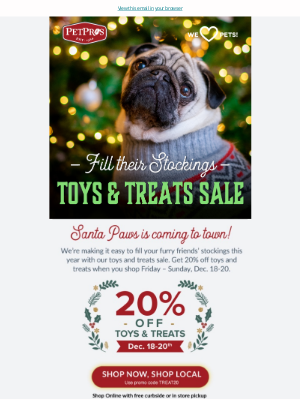 Pet Pros - 🐾 Don't forget your best pals!  Toys & Treats Sale on now!
