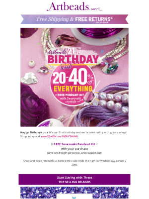 Artbeads - 🎂Artbeads 21st Birthday – Save 20-40% On Everything 🎂
