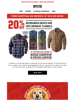 Duluth Trading Company - Raise A Glass - 20% OFF Beergarden Shirt & Flannels!
