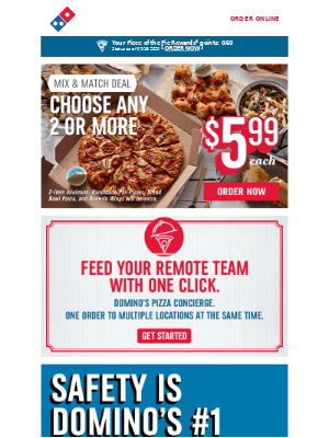Domino's Pizza - Enjoy 2+ Mix & Match items for just $5.99 each 🍕