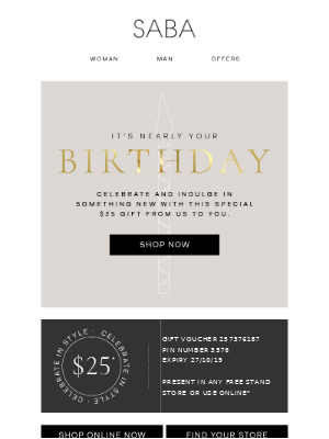 Simple birthday email design from Saba