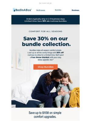 BedInABox - Save up to 30% on comfort for all seasons.