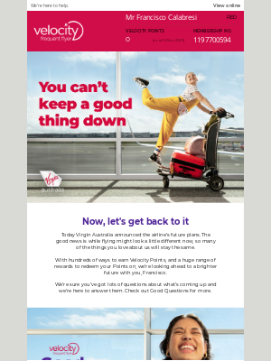 Velocity Frequent Flyer (AU) - It's a good thing you're a Velocity member…