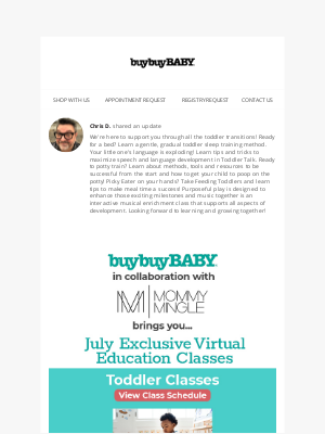 buybuy BABY - New Toddler virtual classes available now! Potty Training 101, Meltdowns & Tantrums and so much more! RSVP Today! Space is limited!