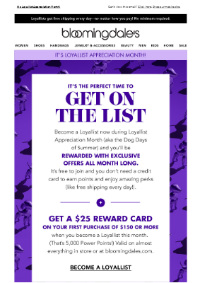 Become a Loyallist & get a $25 Reward Card with $150 purchase
