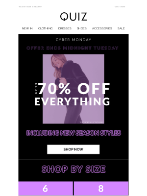 Quiz Clothing (UK) - Cyber Week is here 💙 up to 70% OFF EVERYTHING