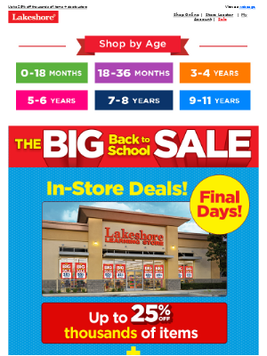 Lakeshore Learning - Only Two Days Left for Our Biggest Sale of the Year!