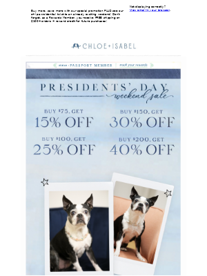 The Presidents' Day Weekend Sale Starts NOW! Save up to 40% OFF!