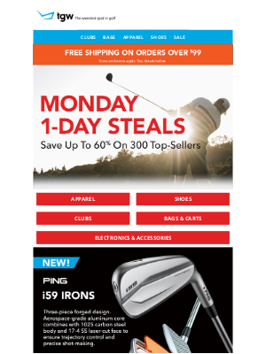tgw - Monday 1-Day Steals! 300 Deals Reduced For 24-Hours Only!