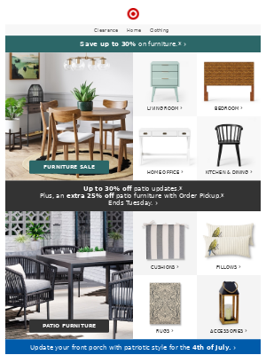 Furniture finds: up to 30% off.