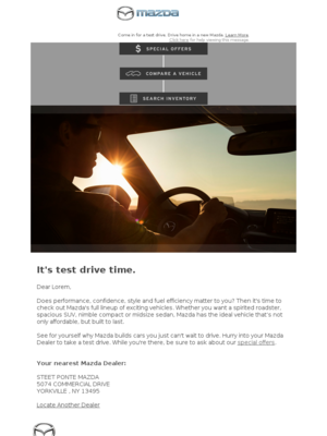 Mazda - Lorem, your Mazda is waiting—hurry in