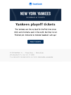 Yankees playoff tickets are available!