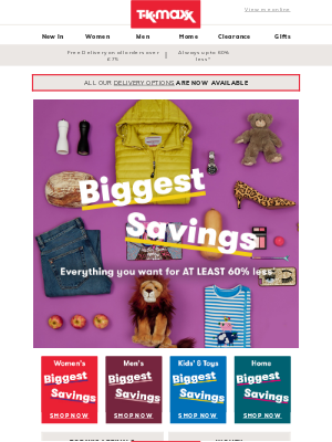 TK Maxx (UK) - Attention! Biggest Savings are here