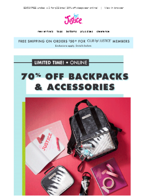 Justice - 70% off backpacks & accessories + $2 tops!