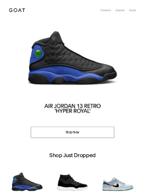 GOAT - Just Dropped: Air Jordan 13 Retro 'Hyper Royal'