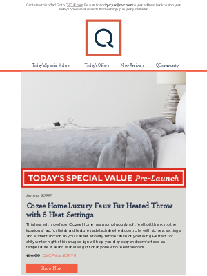 QVC (UK) - See Today's Special Value Pre-Launch: Cozee Home Luxury Faux Fur Heated Throw with 6 Heat Settings
