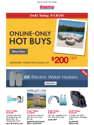 Costco - Online-Only Hot Buys End Today, 9/18/20! Plus Pre-order a New Apple Watch and iPad.