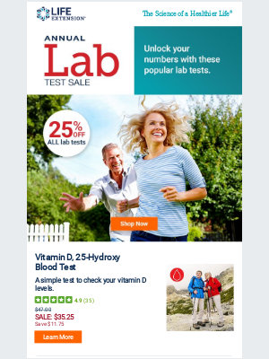Life Extension - Our Most Popular Lab Tests, for Less 🥳