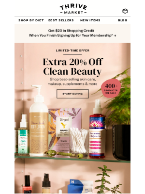EXTRA 20% off clean beauty