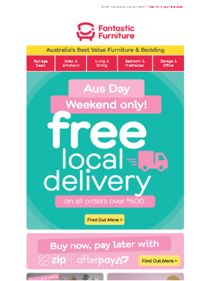 Hurry 🚚 FREE local delivery this long weekend*